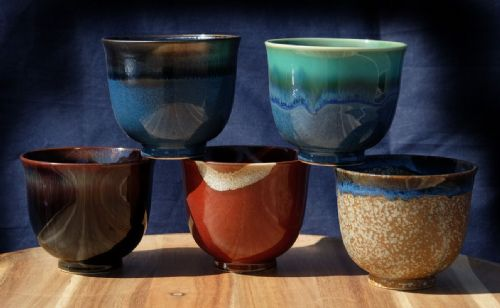 Ceramic Japanese Tea Cups X 5 multi-coloured